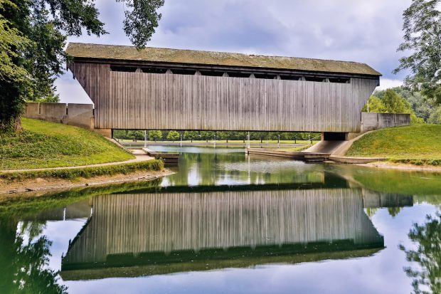 Brownsville Covered Bridge Reflection in Columbus, indiana
