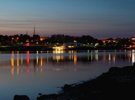 City of Bangor Maine skyline at dusk