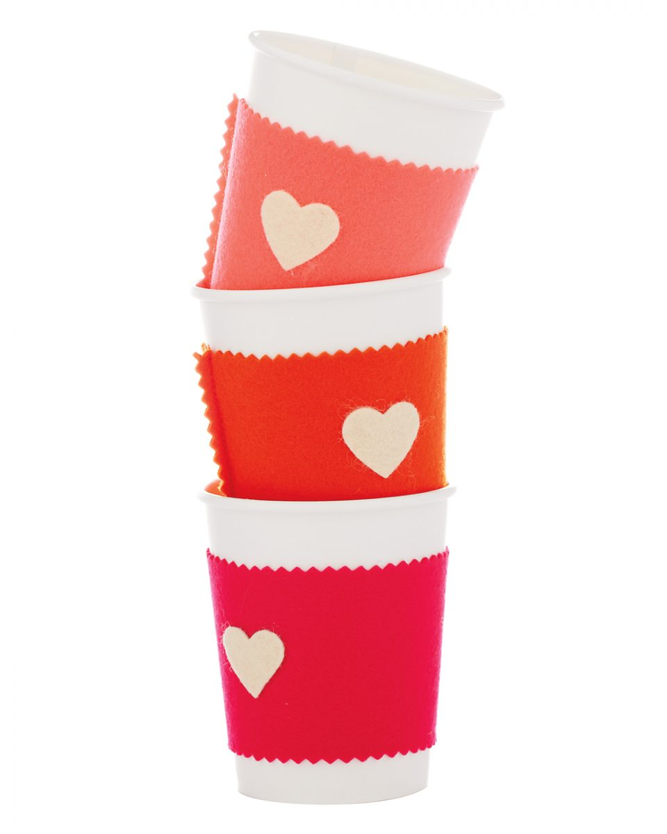 silo, coffee cup, felt, craft, valentines day,