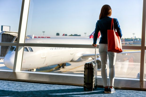 Woman waiting for her flight