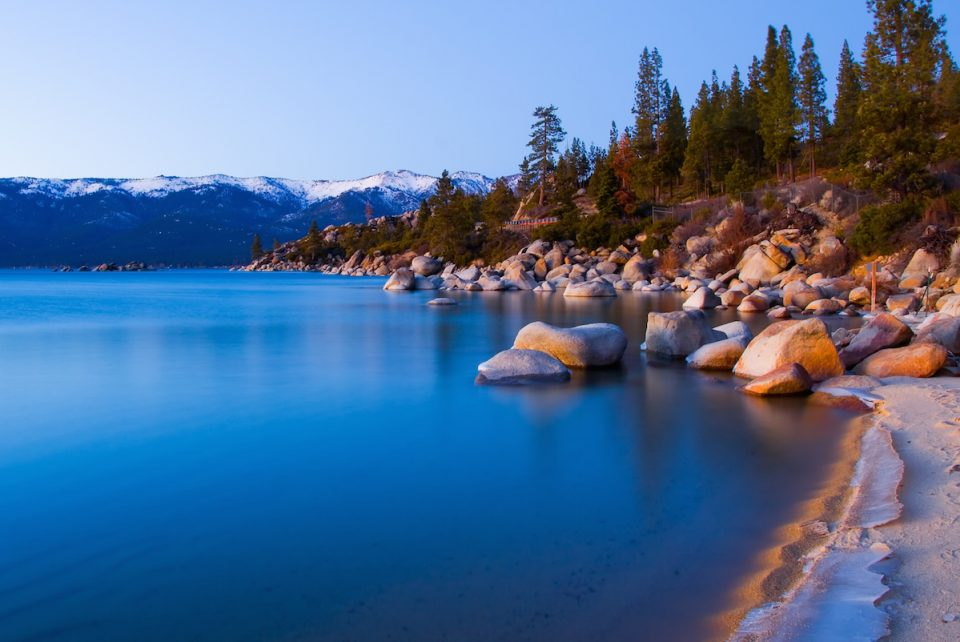 Beautiful Lake Tahoe in Winter after sunset