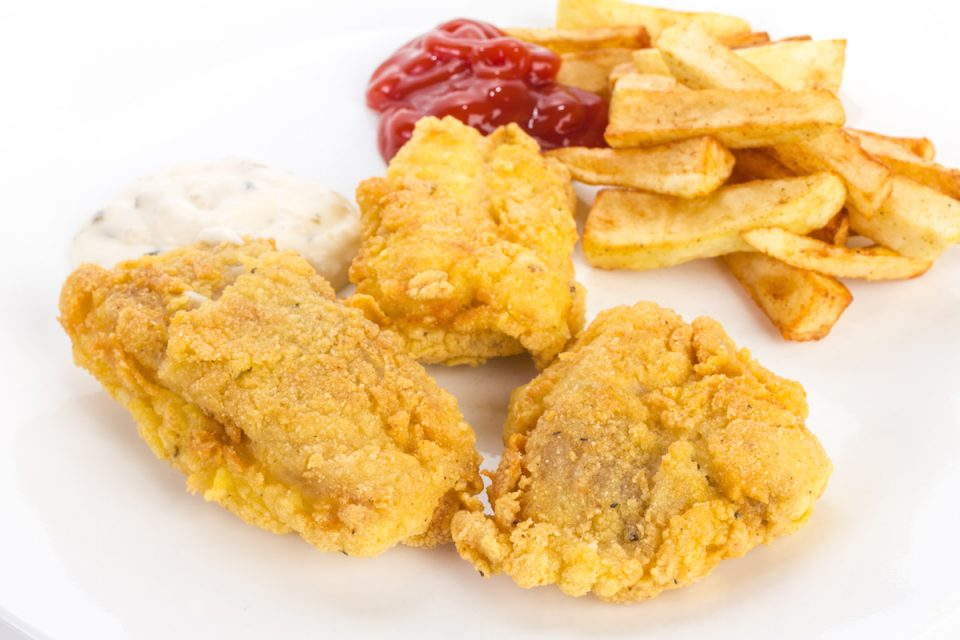 Fried catfish with french fries