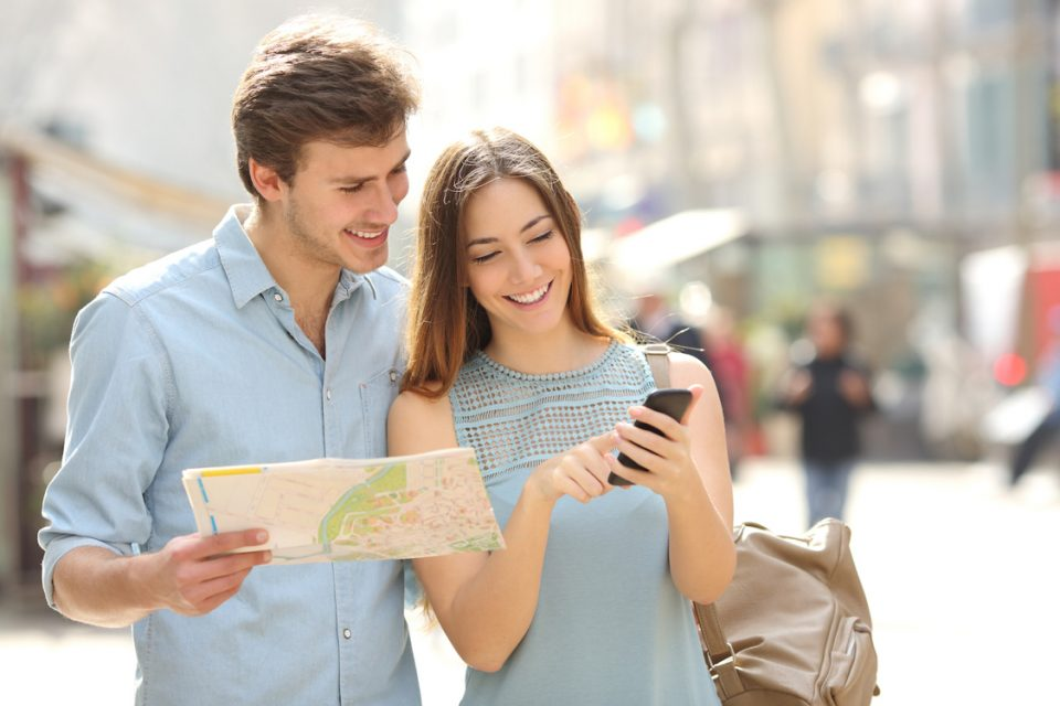 Couple Using Travel Apps