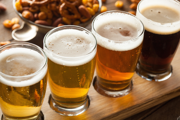 Assorted Beers in a Flight Ready for Tasting