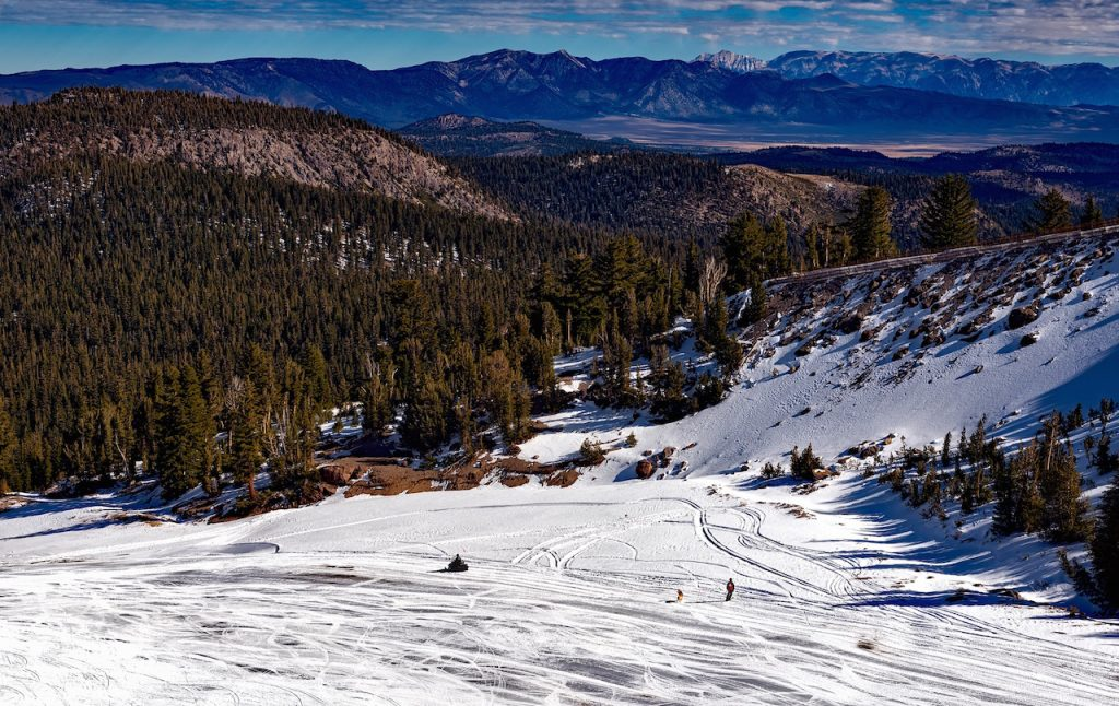 snow and blue sky on mammoth mountain