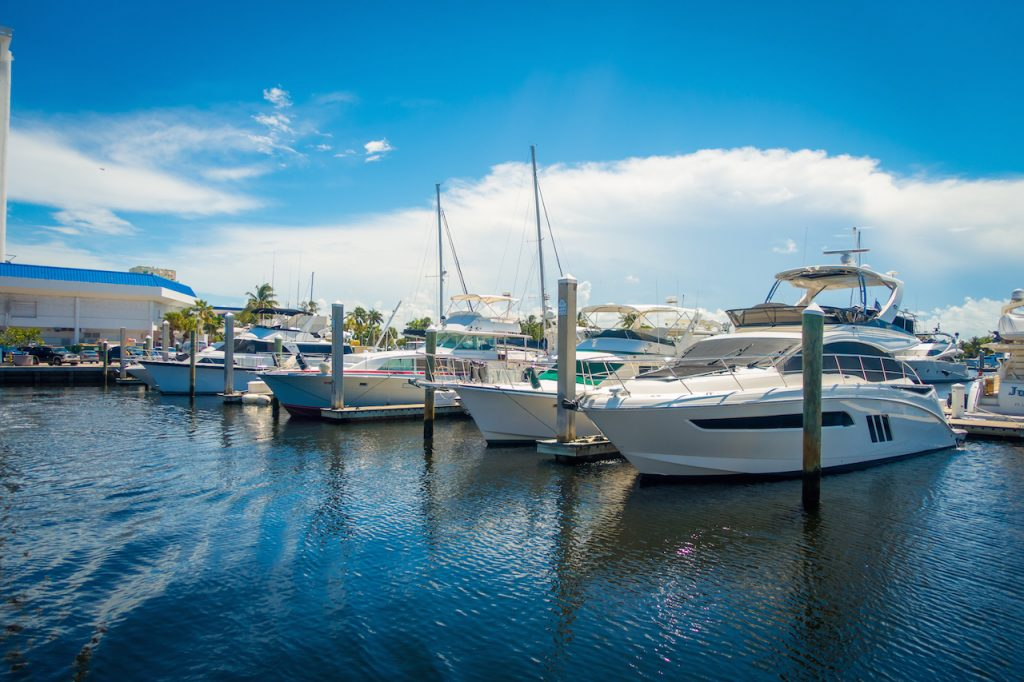 boats lined up on a sunny day in Ft. Lauderdale beach. Ready for the Ft. Lauderdale boat show