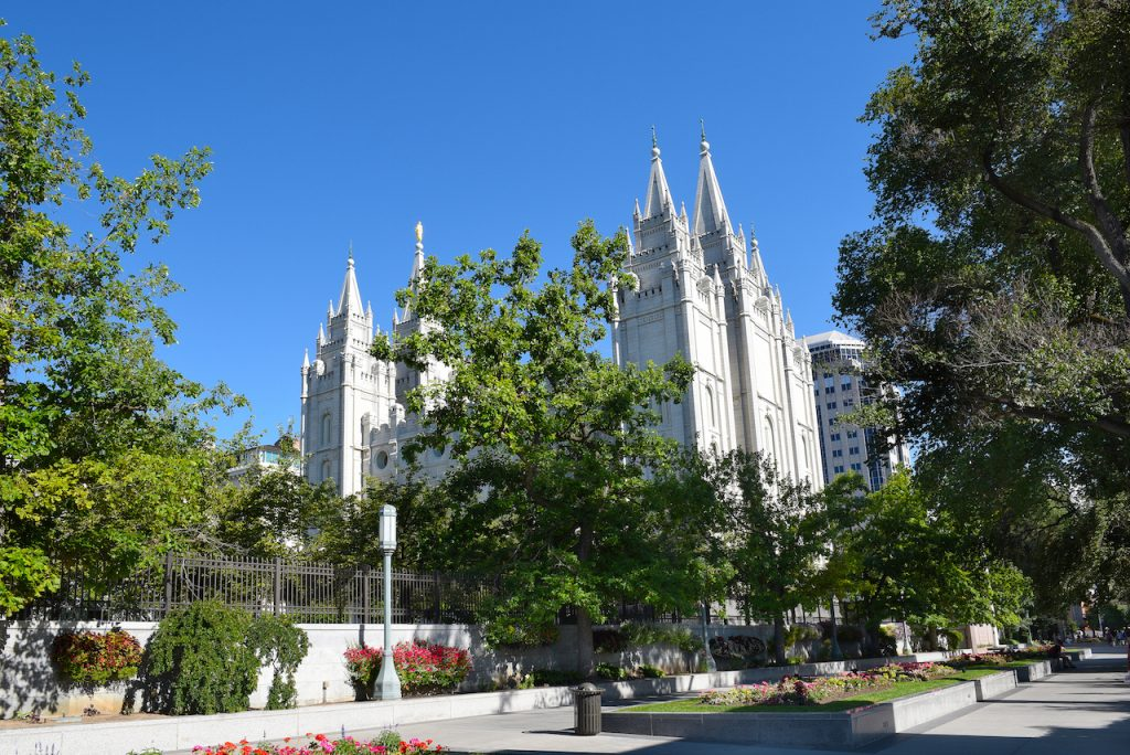 Street view of Salt Lake City Temple, Utah