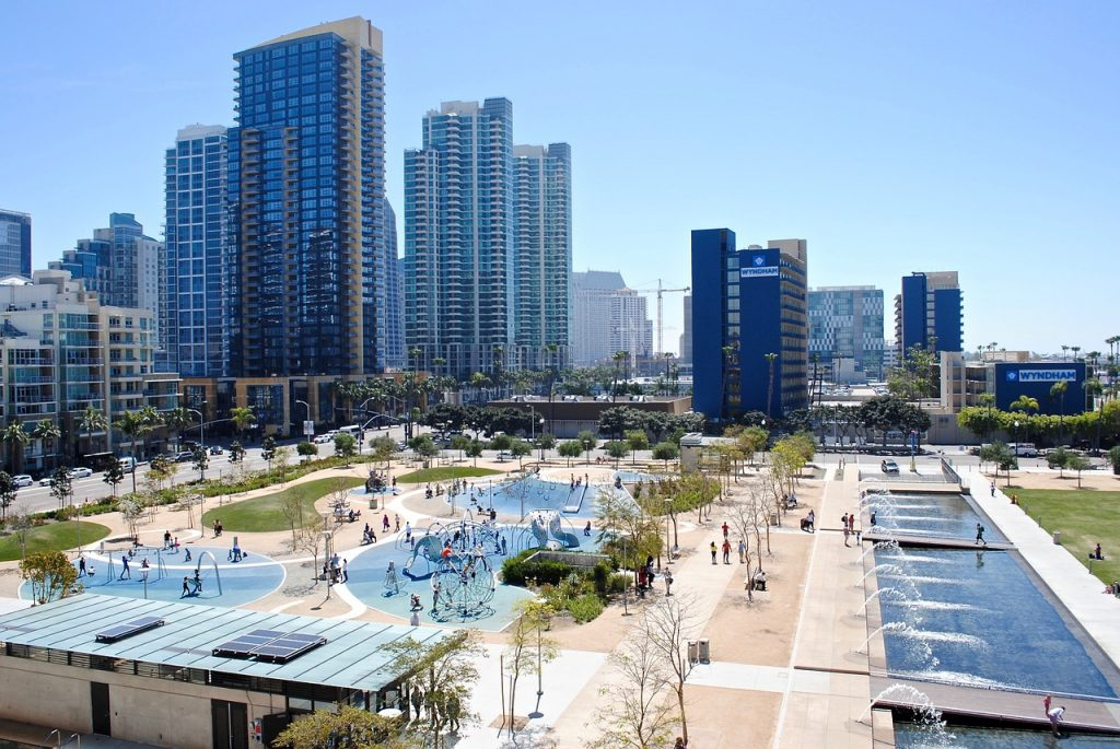 View of tall buildings in Embarcadero Marina Park, San Diego