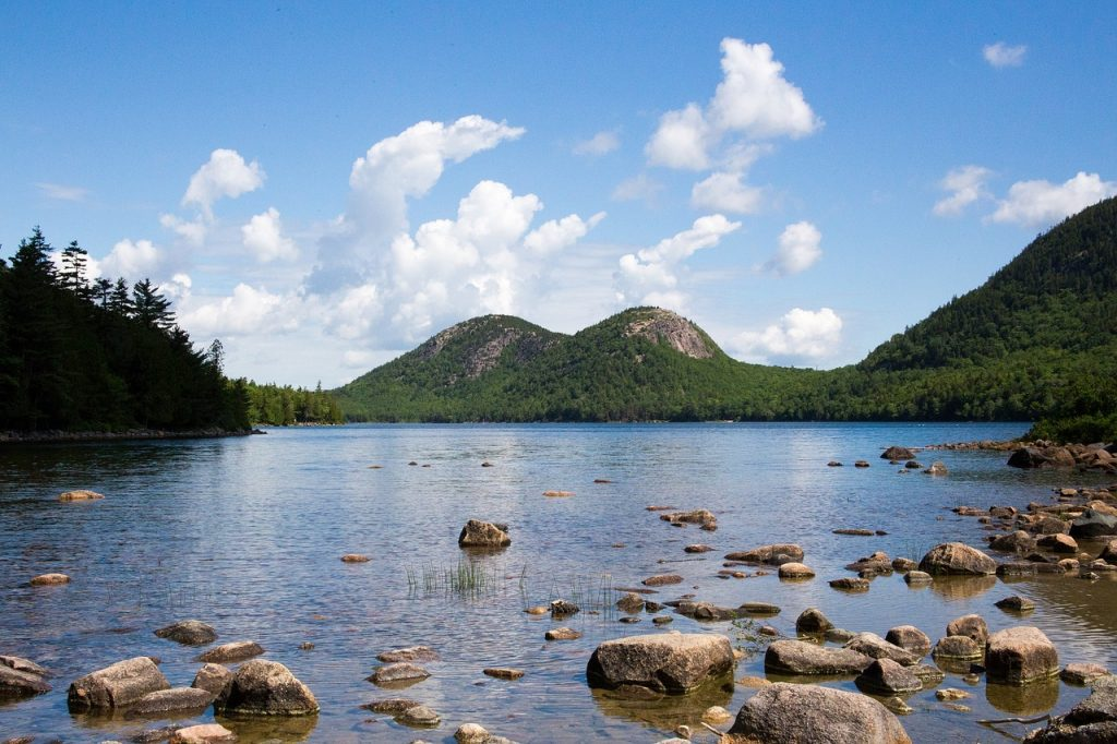 Water view on a clear day in Jordan Pond, Acadia National Park