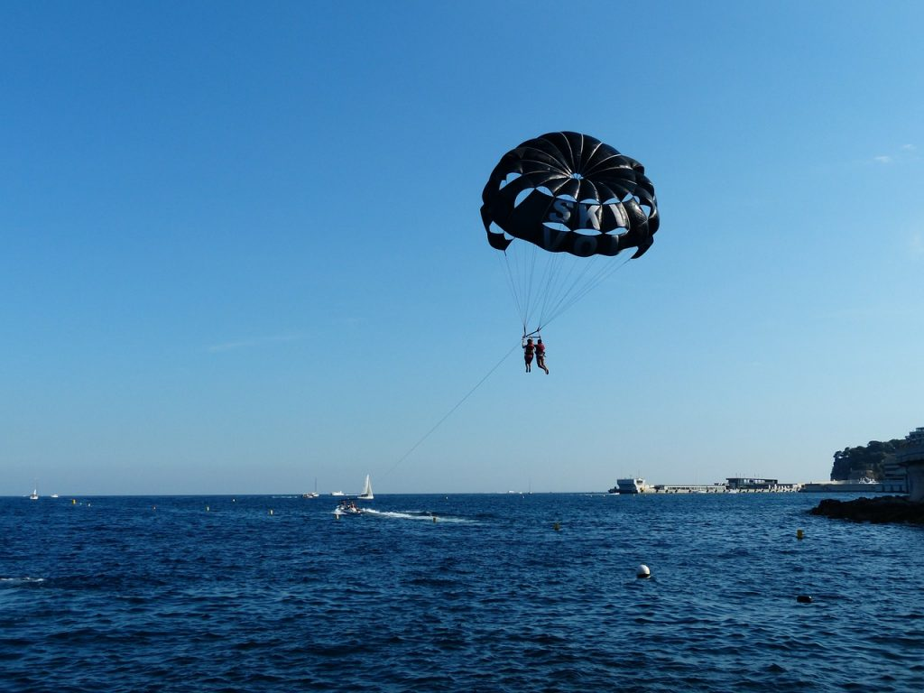 two people parasailing on the water on a clear blue day
