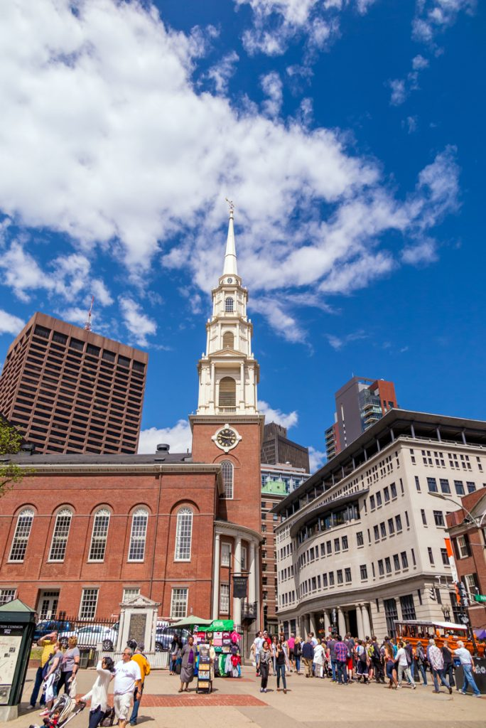 Boston's Freedom trail with the Park Street Church in the background