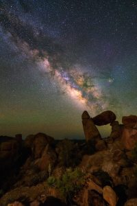 Milky way at Balanced Rock Big Bend National park Texas USA. Constellation and galaxy