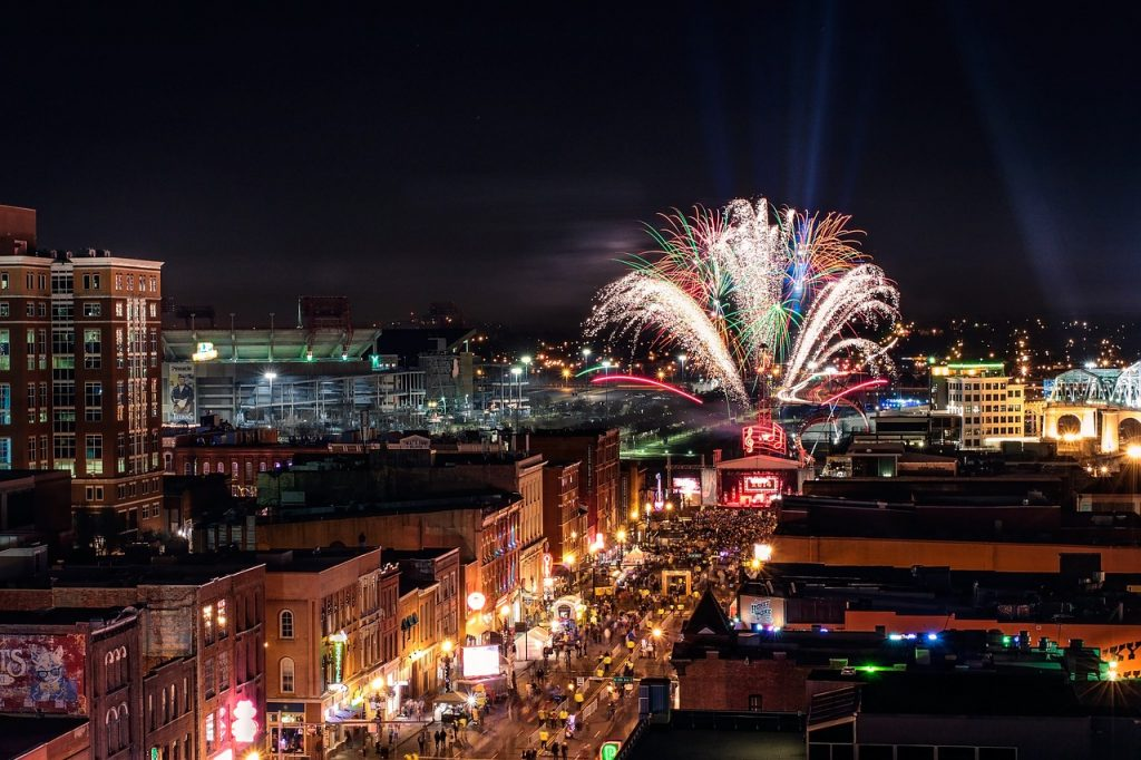 strip of nightlife in Nashville, Tennessee