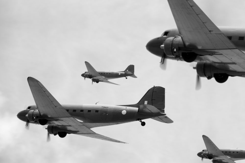 black and white photo of world war 2 airplanes