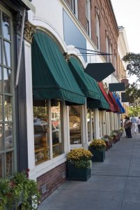 Typical New England or Midwest downtown main street. This could be any small town U.S.A. Old buildings turned into small businesses retail shops and cafe's.<br /> ** Note: Slight blurriness, best at smaller sizes