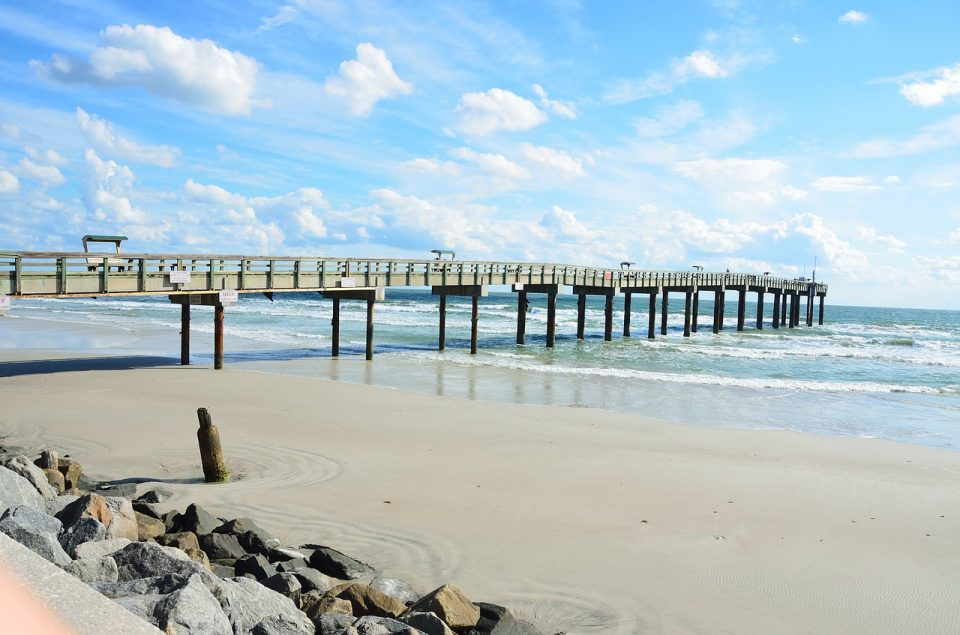 St. Augustine beach pier on a sunny day