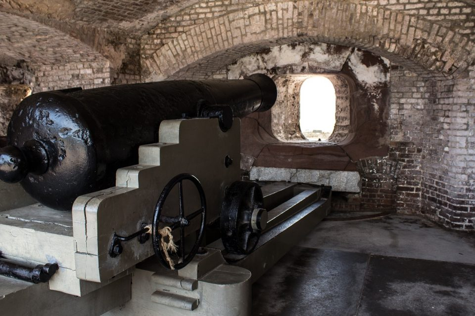 canon inside of fort sumter in Charleston, South Carolina