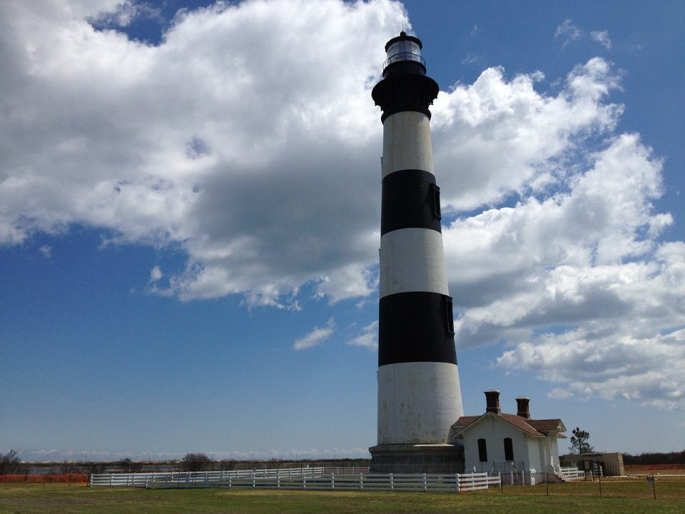 Blue and white striped lighthouse on Bodie Island in North Carolina