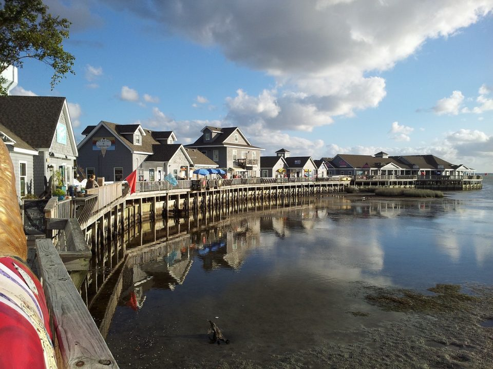 Houses lining the waterfront walk way on the Outerbanks in North Carolina