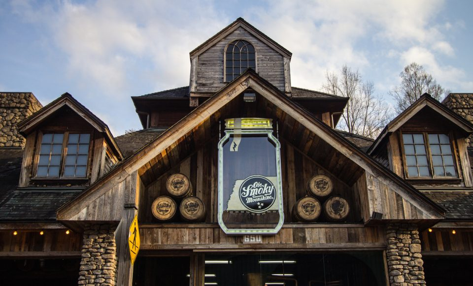 The front of the Ole Smoky distillery in Gatlinburg, Tennessee