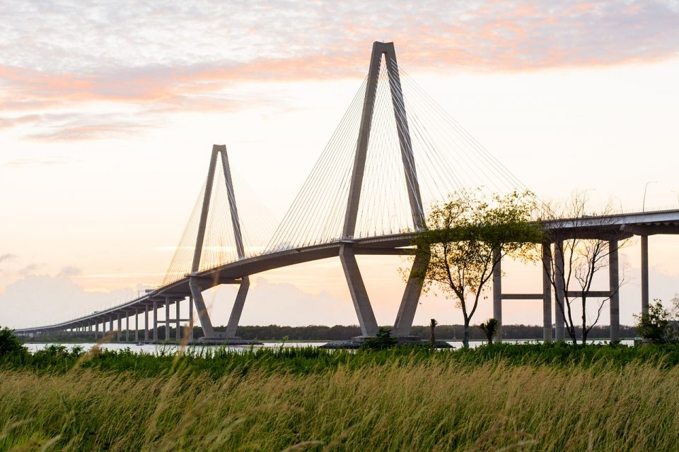 Ravenel Bridge during sunrise in Charleston, SC