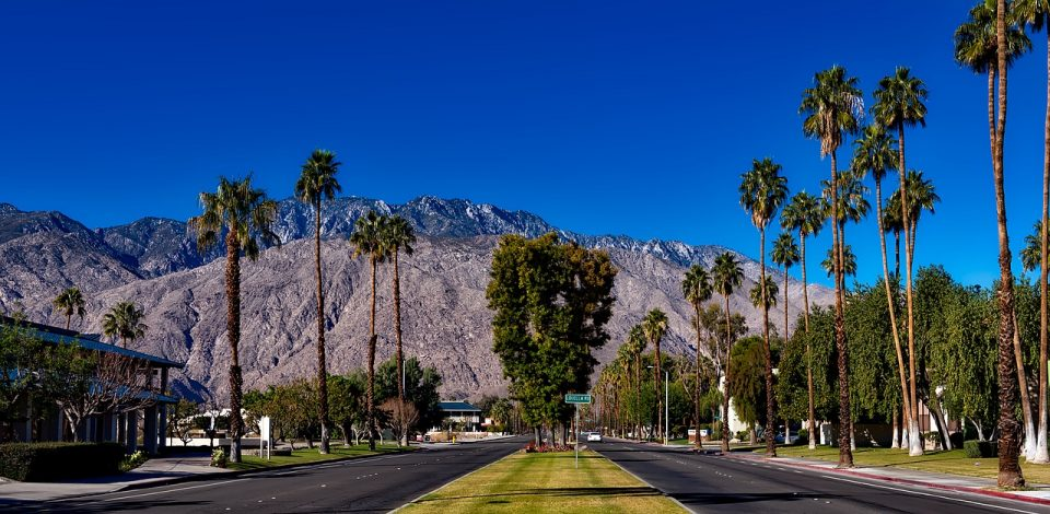Street view of Palm Springs, California, with palm trees and mountains in the background