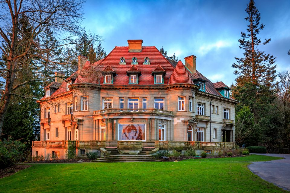 Front view of Pittock mansion in Portland Oregon, during sunset
