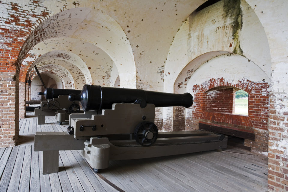 Row of canons inside Fort Pulaski National Monument