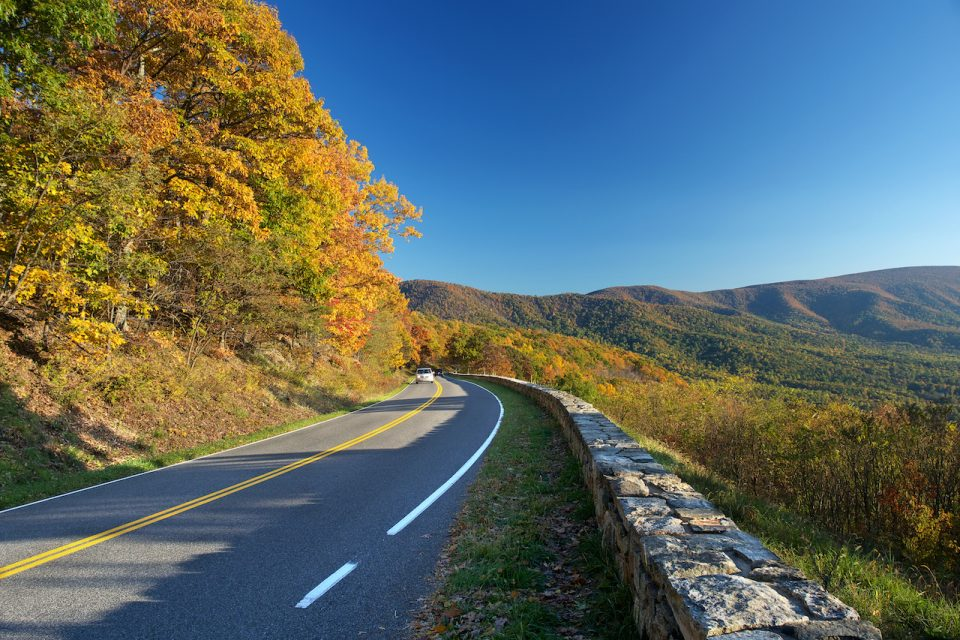 Road in Shenandoah National park at the autumn