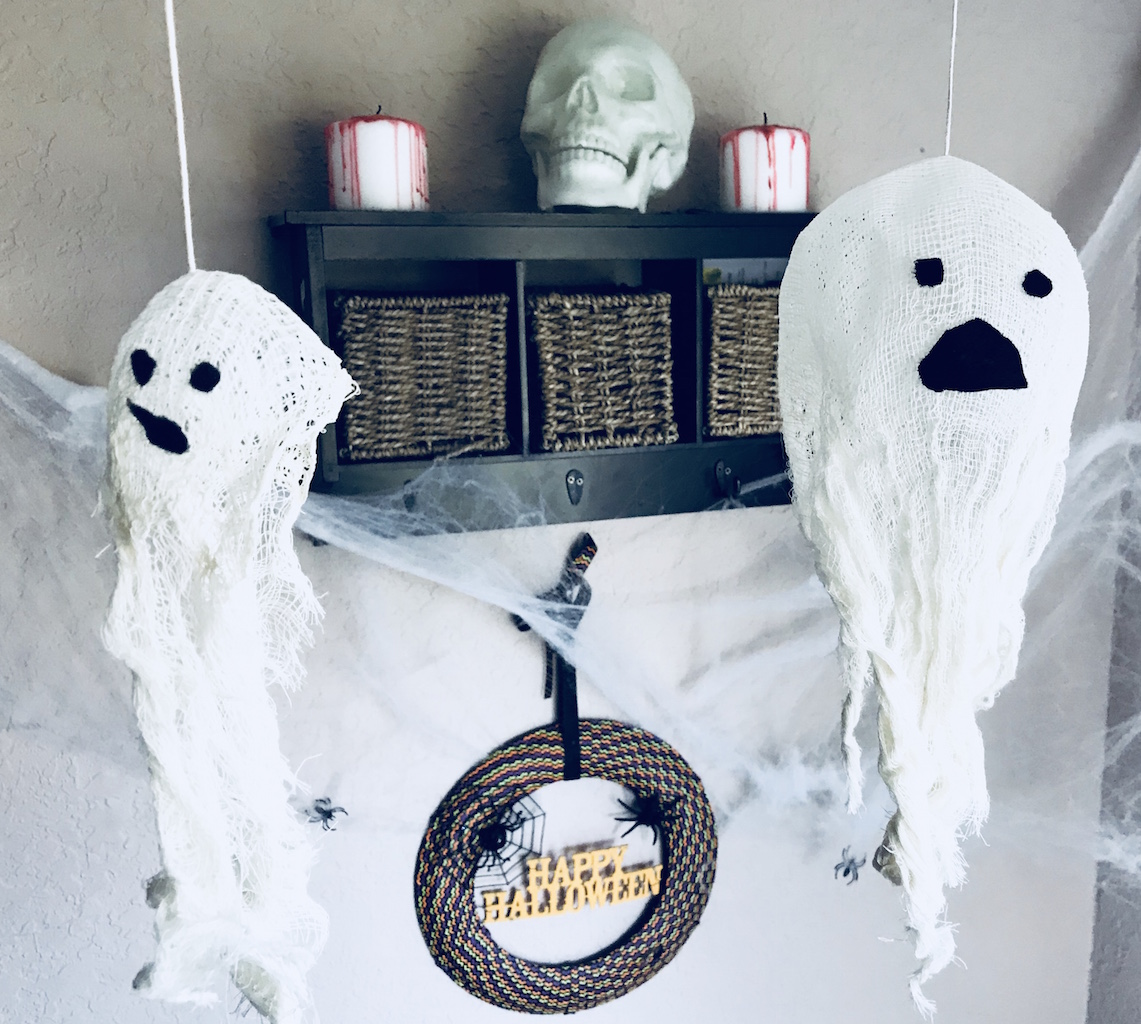 Cheesecloth ghosts for Halloween