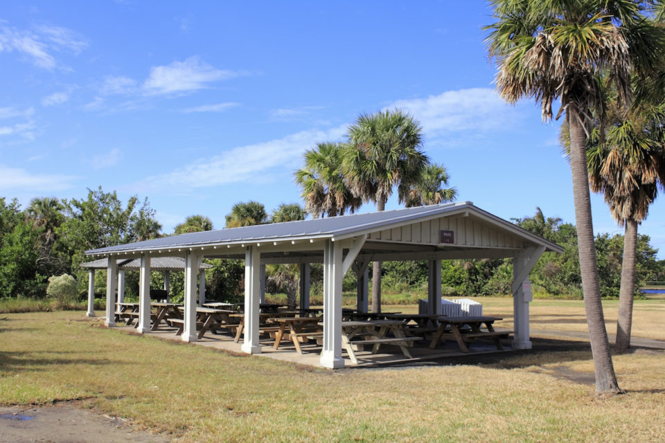 Picnic tables at Hugh Birch State Park in Ft. Lauderdale