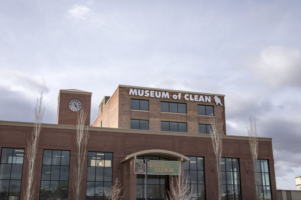 Museum of clean sign in parking lot.