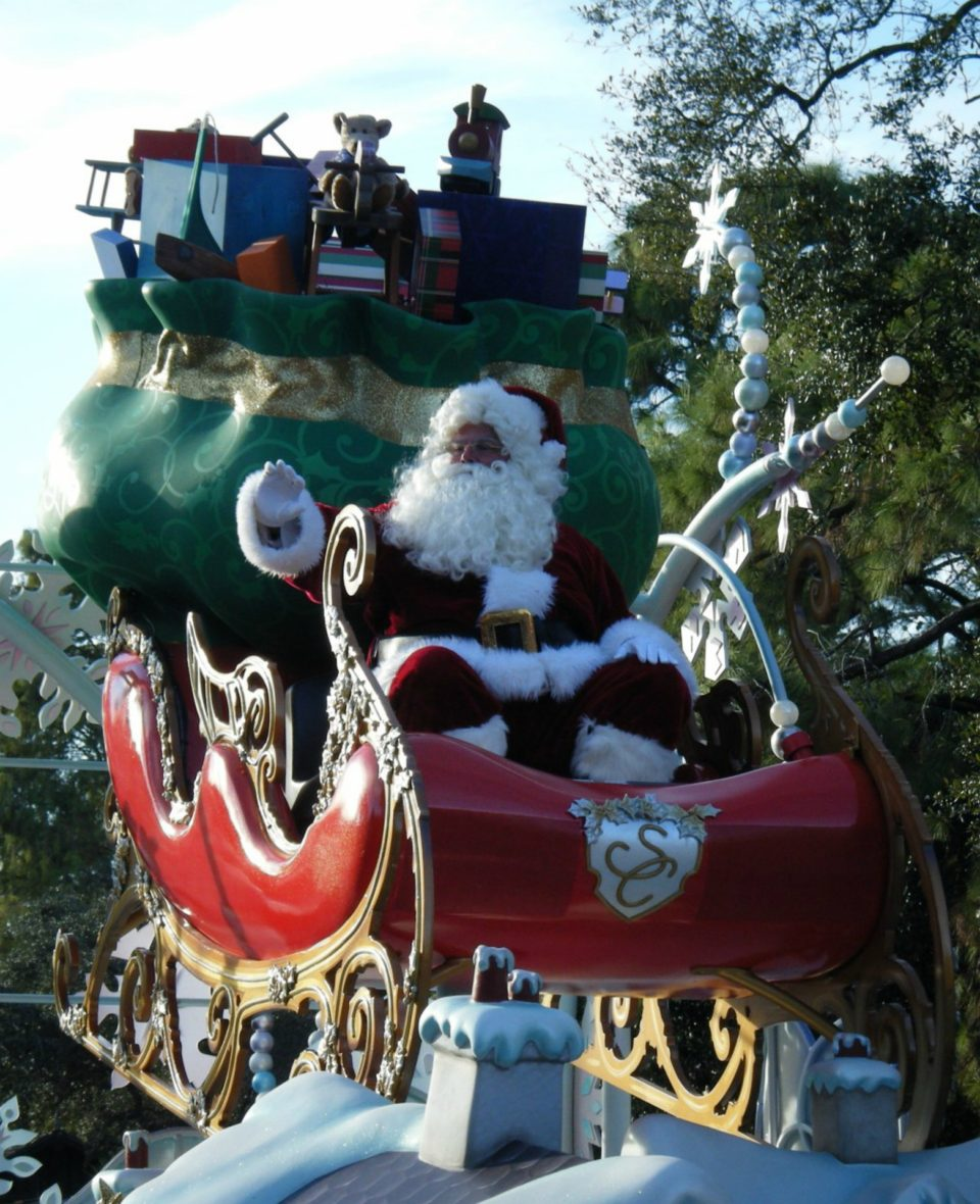 Santa on his sleigh, in Mickey's Very Merry Christmas Party parade