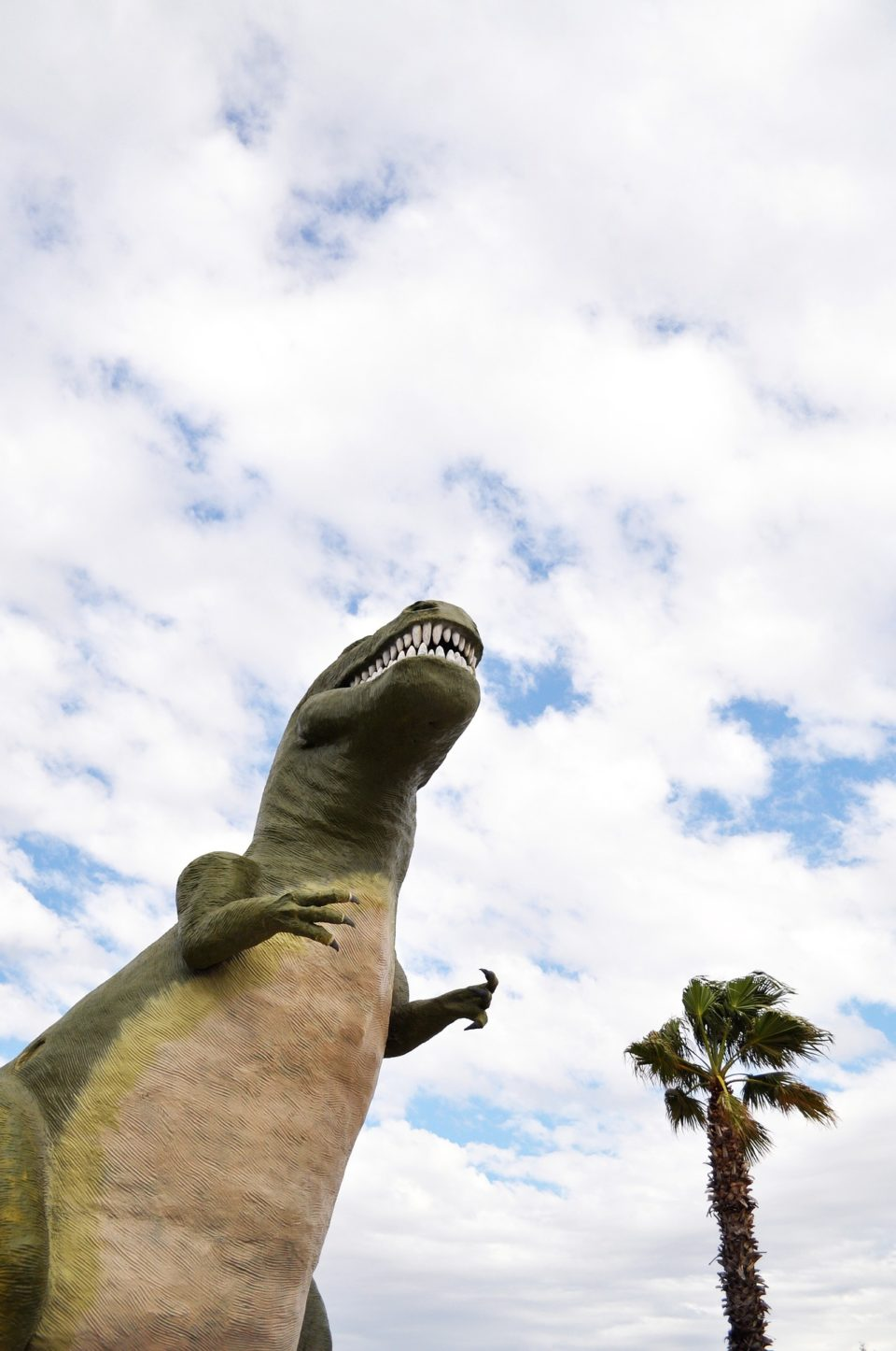 Giant trex statue hovering over a palm tree in blue sky