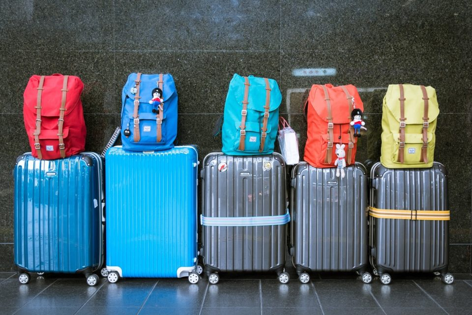 colorful luggage lined up
