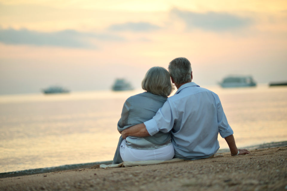 Happy Mature couple relaxing on beach at sunset, back view