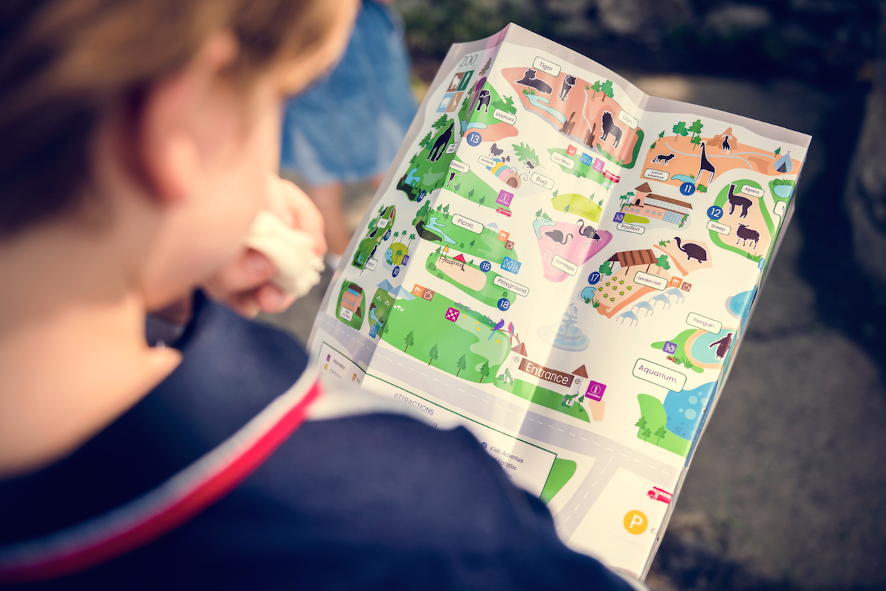young boy looking at a zoo map