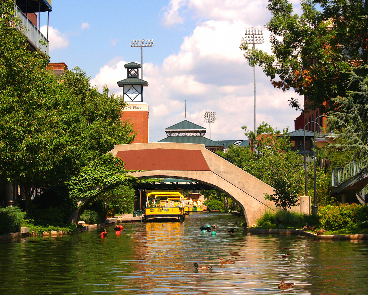 A canal in the Bricktown section of Oklahoma City USA