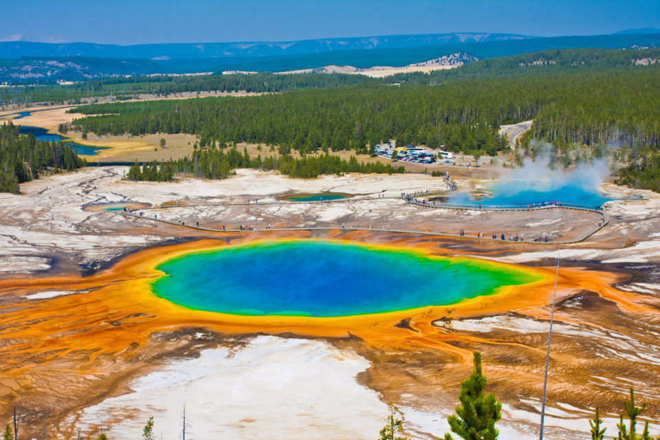 World Famous Grand Prismatic Spring in Yellowstone National Park, USA