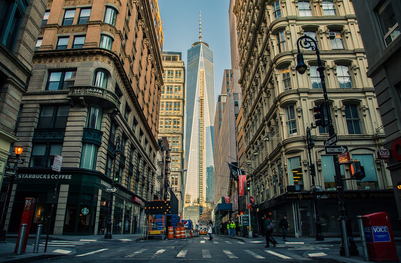 View of New York city buildings with One World Trade Center in the background