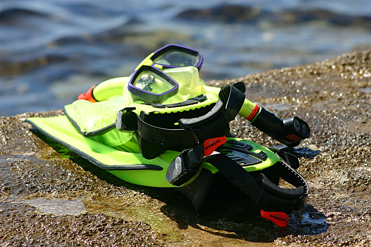 neon green snorkel gear sitting on top of a wet piece of rock