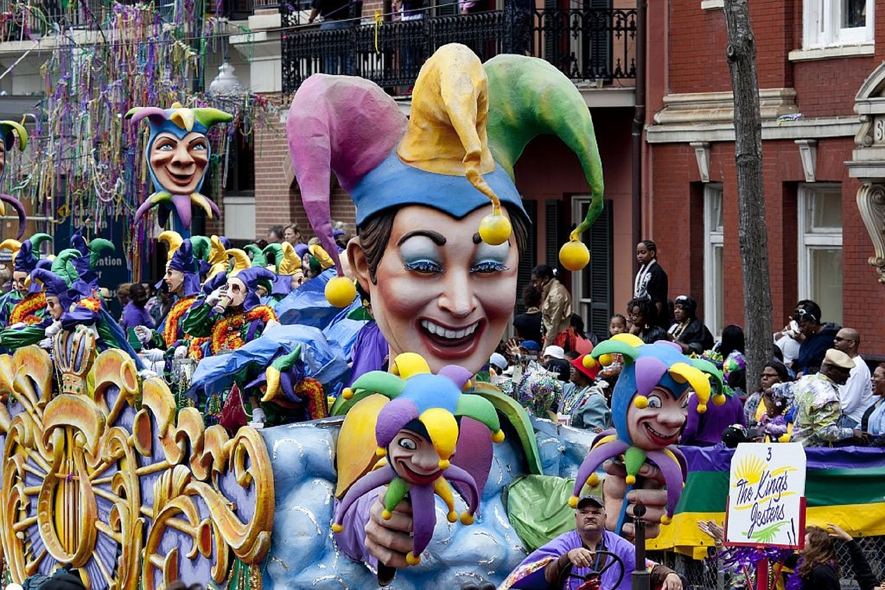 Jester parade float in Mardi Gras