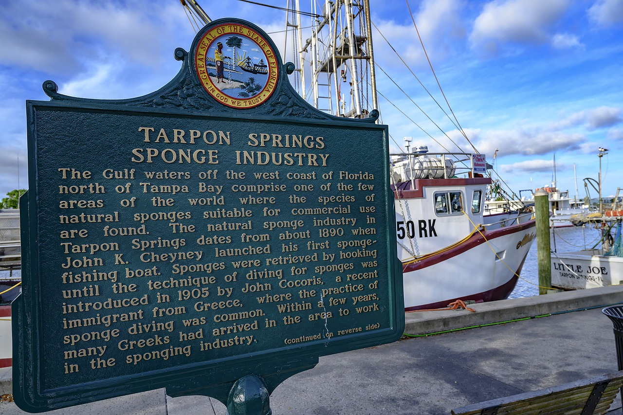 close up of a sign in tarpon springs, fl