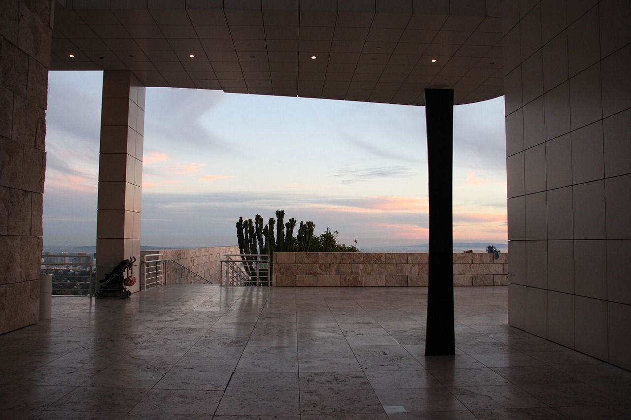 view of the Los Angeles sky from the Getty Museum