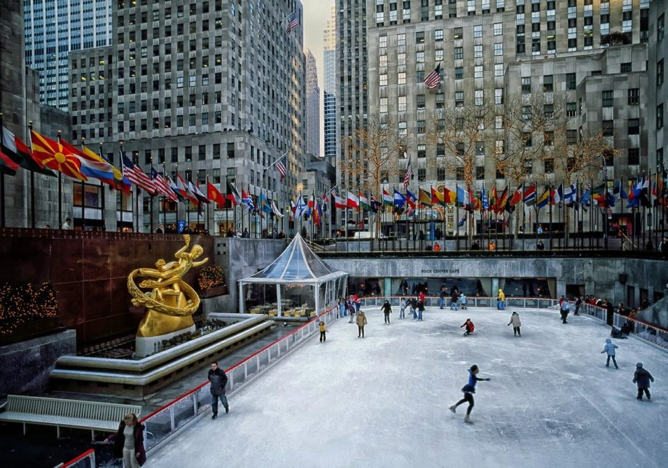 Outdoor ice skating in front of the Rockefeller building