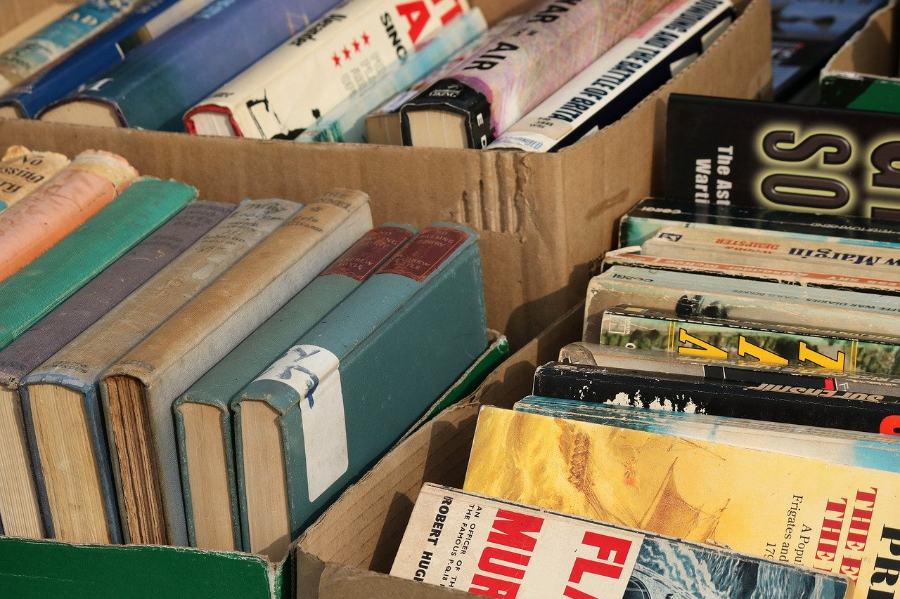 boxes of old books for sale