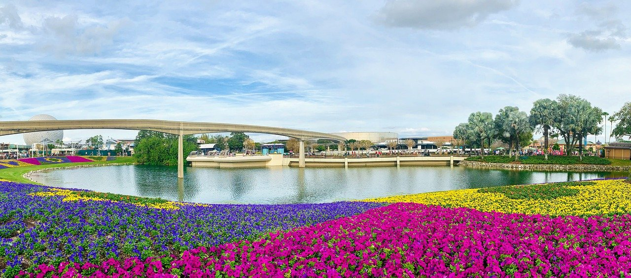 View of colorful flowers and the water inside of Epcot